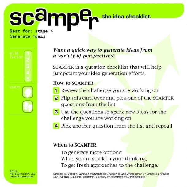 SCAMPER Tool (Jumpstart Idea Generation) - New & Improved
